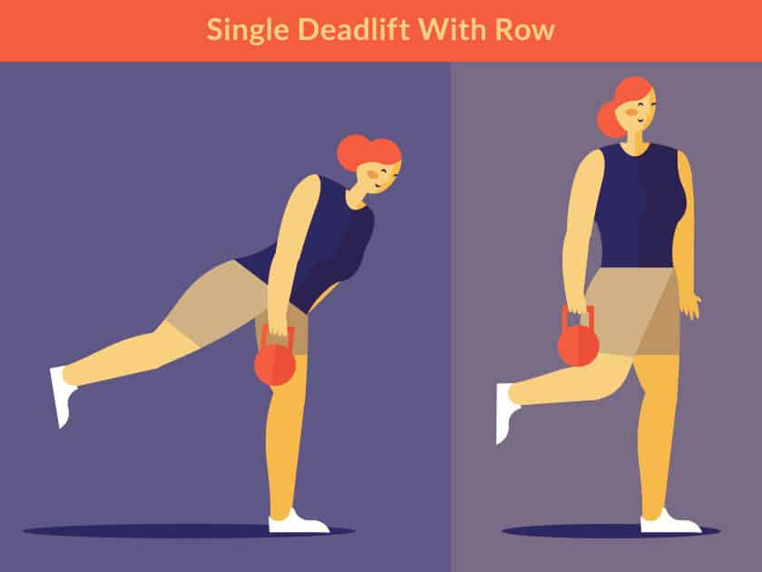 Seven Kettlebell Exercises for a killer core - Single Deadlift with Row