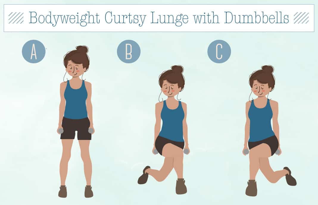 Bodyweight Curtsy Lunge with Dumbells