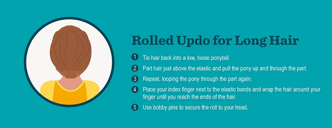 Rolled Updo for Long Hair
